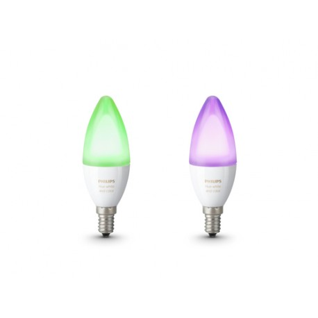 Philips Hue White and color ambiance Pack de 2 bombillas vela casquillo fino E14
