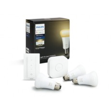 Philips Hue White ambiance Kit de inicio que incluye 3 bombillas LED con casquillo gordo E27, puente y mando regulador