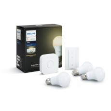 Philips Hue White Kit de inicio que incluye 3 bombillas LED, casquillo E27, Puente y mando regulador