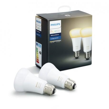 Philips Hue White ambiance Pack de dos bombillas de casquillo gordo E27