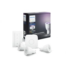 Philips Hue White and color ambiance Kit de inicio que incluye 3 bombillas LED con casquillo GU10, puente y mando regulador