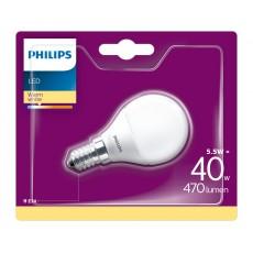 Philips LED- Bombilla estándar mate 5,5W equivalente a 40W, casquillo fino E14, luz blanca cálida
