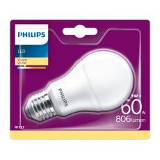 Philips LED- Bombilla estándar mate 9W equivalente a 60W, casquillo gordo E27, luz blanca cálida