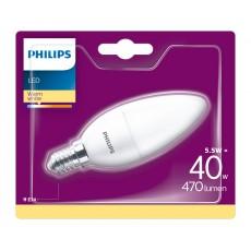 Philips LED- Bombilla vela mate 5,5W equivalente a 40W, casquillo fino E14, luz blanca cálida