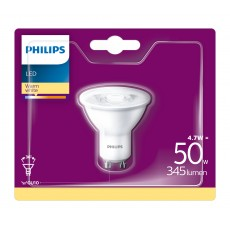Philips LED- Bombilla vela mate 4,7W equivalente a 50W, casquillo GU10, luz blanca cálida